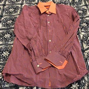 Other - Tallia Men's checkered Orange and Blue Dress Shirt
